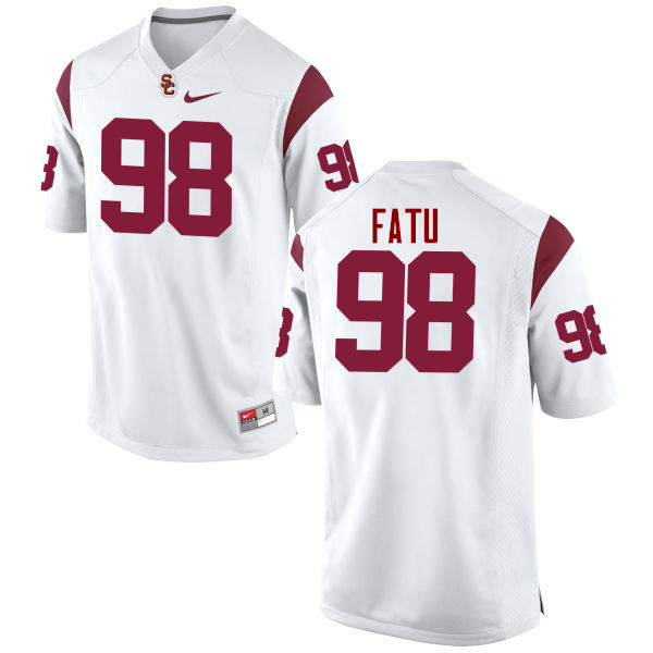 Men #98 Josh Fatu USC Trojans College Football Jerseys-White