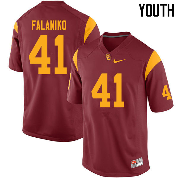 Youth #41 Juliano Falaniko USC Trojans College Football Jerseys Sale-Cardinal