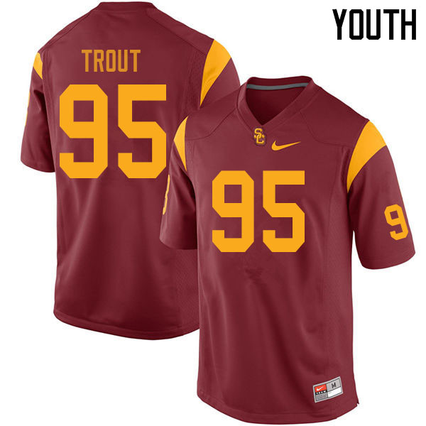 Youth #95 Trevor Trout USC Trojans College Football Jerseys Sale-Cardinal